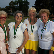 Silver medalist, from left, Joan Bak, Canada, and Rita Price, USA, with Gold medal winners,  Jutta Apel, Germany, and Elsie Crowe, after the 80 Womens Doubles Final  during the 2009 ITF Super-Seniors World Team and Individual Championships at Perth, Western Australia, between 2-15th November, 2009.