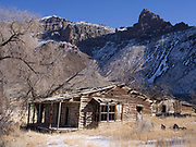 Abandoned log home in the shadow of the Lemhi Range east of the Salmon River near Colston, Idaho.