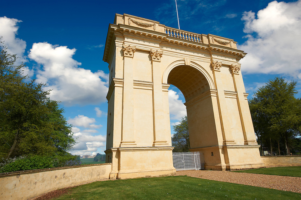 The neo-classic Corinthian Arch looking towards the south side of the Duke of Buckingham's Stowe House, Stowe, Buckingham, England .<br /> <br /> Visit our EARLY MODERN ERA HISTORICAL PLACES PHOTO COLLECTIONS for more photos to buy as wall art prints https://funkystock.photoshelter.com/gallery-collection/Modern-Era-Historic-Places-Art-Artefact-Antiquities-Picture-Images-of/C00002pOjgcLacqI