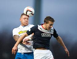 Morton's Garry O'Connor and Falkirk's Will Vaulks.<br /> Falkirk 1 v 1 Morton, Scottish Championship game today at The Falkirk Stadium.<br /> © Michael Schofield.