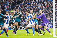 Anticipating the ball following a corner from Anthony Knockhaert (Brighton) during the FA Cup fourth round match between Brighton and Hove Albion and West Bromwich Albion at the American Express Community Stadium, Brighton and Hove, England on 26 January 2019.
