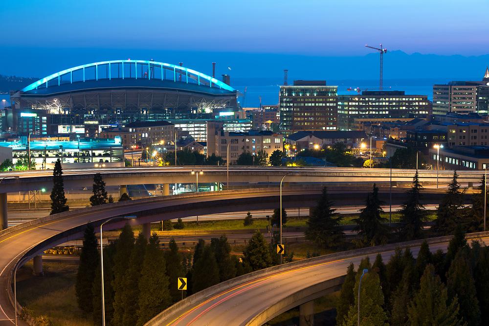 Skyline of Seattle at night, Washington State, USA