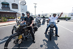 Riders in Atlantic City just after leaving the start of the Motorcycle Cannonball Race of the Century. Stage-1 from Atlantic City, NJ to York, PA. USA. Saturday September 10, 2016. Photography ©2016 Michael Lichter.
