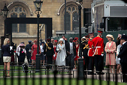 29 April 2011. London, England..Royal wedding day. Guests begin to arrive at Westminster Abbey..Photo; Charlie Varley.