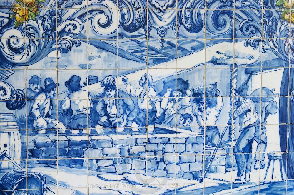azulejos crushing grapes in lagares ferreira port lodge vila nova de gaia porto portugal