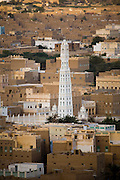 A view of the city of Tarim, and the Al Mihdar Mosque with its 54 meter minaret,one of the tallest in the world, in the  Hadhramawt Valley, Yemen.