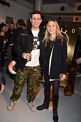 Louis Simonon and Eliza Henderson at the LFW Sponge Bob Gold presentation at The Atrium, The Store Studios, 180 The Strand, London England. 18 February 2017.