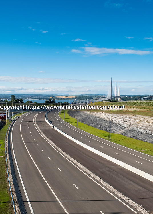 View of approach roads to new Queensferry Crossing bridge spanning River Forth in Scotland, United Kingdom