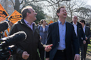 © Licensed to London News Pictures. 06/04/2015. Surbiton, UK. NICK CLEGG and ED DAVEY meet supporters.  Liberal Democrat Leader and Deputy Prime Minister NICK CLEGG and climate secretary ED DAVEY campaigning for votes in the general election in Ed Davy's constituency of Surbiton today 6th April 2015. Photo credit : Stephen Simpson/LNP