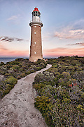 The Cape du Couedic Lighthouse on Kangaroo Island at sunset.