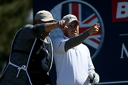 Richie Ramsay and caddie during day four of the Betfred British Masters at Hillside Golf Club, Southport.