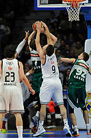 Real Madrid´s Felipe Reyes and Zalgiris Kaunas´s Arturas Gudaitis during 2014-15 Euroleague Basketball match between Real Madrid and Zalgiris Kaunas at Palacio de los Deportes stadium in Madrid, Spain. April 10, 2015. (ALTERPHOTOS/Luis Fernandez)