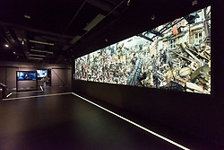 View of mural in The National Museum in Szczecin - The Dialogue Centre Upheavals which displays controversial subjects related to recent history of Szczecin, Poland