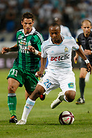 FOOTBALL - FRENCH CHAMPIONSHIP 2011/2012 - L1 - OLYMPIQUE DE MARSEILLE v AS SAINT ETIENNE - 21/08/2011 - PHOTO PHILIPPE LAURENSON / DPPI - JEREMY CLEMENT (ASSE) / ANDRE AYEW (OM)