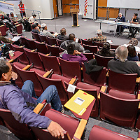 011414       Cable Hoover<br /> <br /> Summit attendees listen to a panel discussion about employment challenges during the 1st Annual Workforce Development Summit at UNM-Gallup Tuesday.