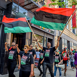 May 19, 2017 - New York, New York, U.S. - In honor of the 92nd Anniversary of the birth of black national hero, Malcolm X, members of December 12th Movement, Black Lives Matter Greater New York and Harlem residents gathered outside Adam Clayton Powell State Office Building, 163 W. 125th St. to hold the 28th annual black power Shut Em Down rally and march. (Credit Image: © Erik Mcgregor/Pacific Press via ZUMA Wire)
