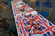 Table aftermath of a community street party in Dulwich, south London celebrating the Diamond Jubilee of Queen Elizabeth. A few months before the Olympics come to London, a multi-cultural UK is gearing up for a weekend and summer of pomp and patriotic fervour as their monarch celebrates 60 years on the throne and across Britain, flags and Union Jack bunting adorn towns and villages.