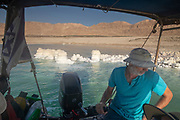 Tourist enjoy a boat trip on the Dead Sea, Israel