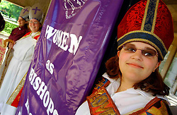 Licensed to London News Pictures 17/11/2014<br /> File pic of student protestors at the Church of England General Synod, York, July 2006, ahead of Women in the Episcopate debate. <br /> Photo Credit: Sam Atkins/LNP