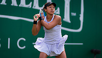 Naomi Osaka of Japan in action during her second-round match at the 2019 Nature Valley Classic WTA Premier tennis tournament
