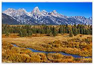 Jagged mountain peaks on a sunny morning at Grand Teton National Park, Wyoming, USA