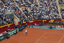 April 6, 2018 - Valencia, Valencia, Spain - Philipp Kohlschreiber of Germany in action in his match against during day one of the Davis Cup World Group Quarter Finals match between Spain and Germany at Plaza de Toros de Valencia on April 6, 2018 in Valencia, Spain  (Credit Image: © David Aliaga/NurPhoto via ZUMA Press)