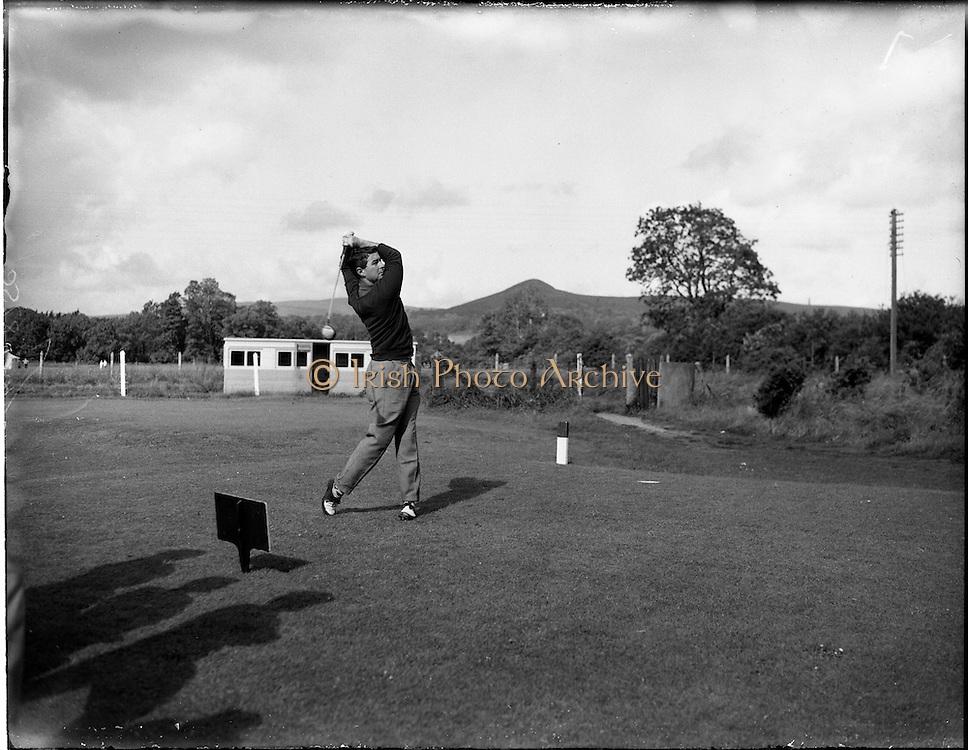 20/07/1962<br /> 07/20/1962<br /> 20 July 1962<br /> Woodbrook Irish Hospitals' Golf Tournament at Woodbrook Golf Course, Dublin. Mr J.E. Bowen, Little Island, Cork, drives off the 3rd Tee at Woodbrook.