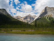 View of mountains near Emerald Lake; Yoho National Park, near Golden, British Columbia, Canada.