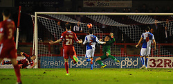 Bristol Rovers' Steve Mildenhall fails to keep out Crawley Town's Jamie Proctor first half headed goal - Photo mandatory by-line: Seb Daly/JMP - Tel: Mobile: 07966 386802 08/01/2014 - SPORT - FOOTBALL - Broadfield Stadium - Crawley - Crawley Town v Bristol Rovers - FA Cup - Replay