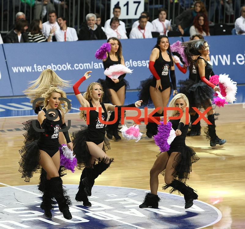 Anadolu Efes's show girls during their Turkish Airlines Euroleague Basketball Group C Game 6 match Anadolu Efes between Partizan at Sinan Erdem Arena in Istanbul, Turkey, Wednesday, November 23, 2011. Photo by TURKPIX