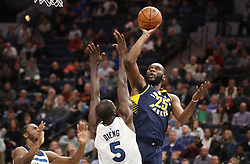 October 24, 2017 - Minneapolis, MN, USA - The Indiana Pacers' Al Jefferson (25) scores over the Minnesota Timberwolves' Gorgui Dieng (5) in the second half at Target Center in Minneapolis on Tuesday, Oct. 24, 2017. The Pacers won, 130-107. (Credit Image: © Jerry Holt/TNS via ZUMA Wire)