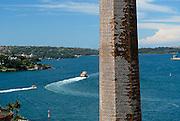 Sydney Harbour and old brick chimney stack. The Rocks, Sydney, Australia