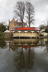 The Union Canal and Edinburgh Canal Society boathouse in early spring  in Edinburgh, Scotland, UK