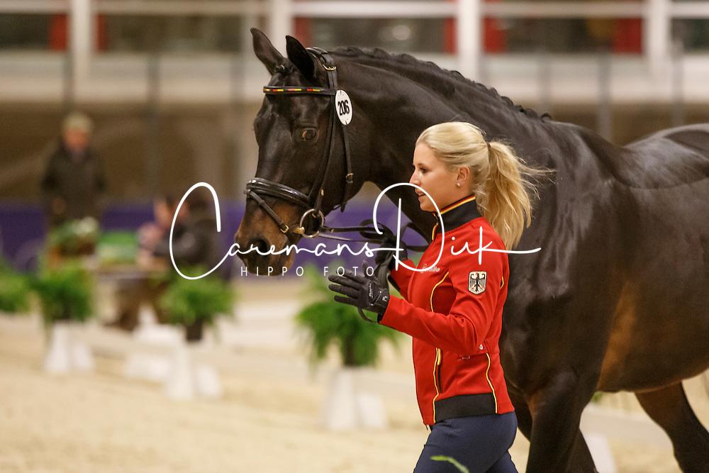 Von Bredow-Werndl Jessica, (GER), Unee BB<br /> Horse Inspection<br /> Reem Acra FEI World Cup Dressage Finals 2016<br /> © Hippo Foto - Dirk Caremans<br /> 24/03/16