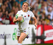 England player Lydia Thompson scores a try down the sideline in the second half  during the Women's Rugby World Cup 2017 match between England Women and New Zealand Women at Kingspan Stadium, Belfast, Northern Ireland on 26 August 2017. Photo by Ian  Muir. during the Women's Rugby World Cup 2017 match between England Women and New Zealand Women at Kingspan Stadium, Belfast, Northern Ireland on 26 August 2017. Photo by Ian  Muir.