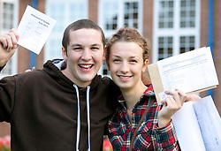 © Licensed to London News Pictures.16/08/2012. Solihull, West Midlands. Pupils at Solihull School celebrating their A level results. Pictured, 7, A Star A levels between them, Anna Cooban and Jack Cane are both off to Oxford University. Photo credit : Dave Warren/LNP