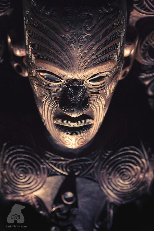 Finely chiseled wood maori carving, from New Zealand.