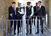 © Licensed to London News Pictures. 25/04/2013. London, UK On the day UK crime are reported at the lowest level for 30 years Deputy Prime Minister Nick Clegg (left) visits Thrayle House, Stockwell Park Estate in Brixton with Jeremy Browne (right), Minister for Crime Prevention, to meet with police, residents and community workers to see how crime is being tackled in the area, today 25th April 2013.. Photo credit : Stephen Simpson/LNP