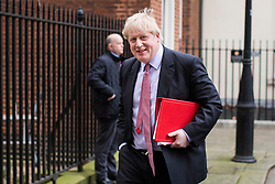 © Licensed to London News Pictures. 08/02/2018. London, UK. Foreign Secretary Boris Johnson leaves 10 Downing Street after the second part of the Brexit Cabinet meeting. Photo credit: Rob Pinney/LNP