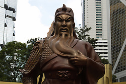 June 22, 2017 - Hong Kong, CHINA - Stern looking bronze statue of Guan Gong, a Chinese folk hero ( Warrior God ) is on public display in Central Hong Kong to mark the celebration of Hong Kongs 20th anniversary of the HANDOVER to China. June 22, 2017.Hong Kong.ZUMA/Liau Chung Ren (Credit Image: © Liau Chung Ren via ZUMA Wire)