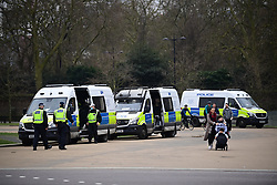 © Licensed to London News Pictures. 20/03/2021. London, UK. A heavy police presence near Hyde Park before people gather to take part in a Rally for Freedom in central London, to protest against the continued lockdown restrictions imposed to fight the spread of coronavirus. Similar events are taking place at cities around the world. Photo credit: Ben Cawthra/LNP