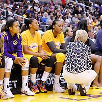 22 June 2014: Los Angeles Sparks head coach Carol Ross talks to forward/center Sandrine Gruda (7) of the Los Angeles Sparks during the San Antonio Stars 72-69 victory over the Los Angeles Sparks, at the Staples Center, Los Angeles, California, USA.