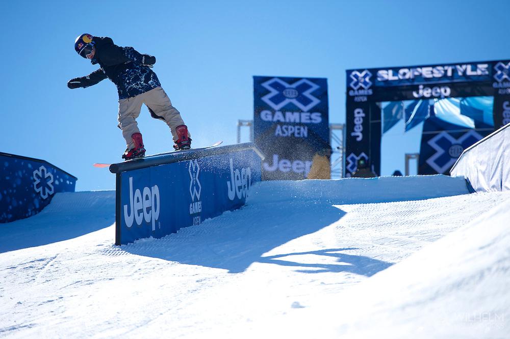 Sebastien Toutant during Snowboard Slopestyle <br /> Eliminations at 2014 X Games Aspen at Buttermilk Mountain in Aspen, CO. ©Brett Wilhelm/ESPN