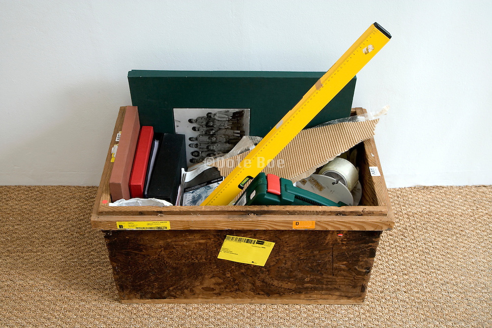 toolbox with box with photo album and boxes