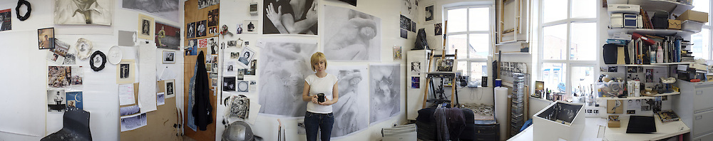 Nina Fowler in her  studio in East London. London. 2008. ONE TIME USE ONLY - DO NOT ARCHIVE  © Copyright Photograph by Dafydd Jones 248 Clapham Rd. London SW9 0PZ. 0207 820 0771.  www.dafjones.com