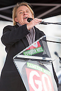 Natalie Bennett, leader of the Green party speaking at 4 Demands. The People's Assembly demonstration that took place in central London on the 16th of April 2016.  Supported by all the major trade unions including PCS, focusing on a range of issues:  the defence of the NHS, the right to decent housing for everyone, investment in real and useful jobs, defence of Trade Union rights and a fully free and comprehensive Education system.