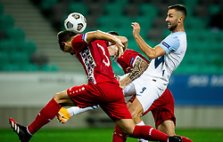 Victor Mudrac of Moldova vs Andraz Sporar of Slovenia during the UEFA Nations League C Group 3 match between Slovenia and Moldova at Stadion Stozice, on September 6th, 2020. Photo by Vid Ponikvar / Sportida