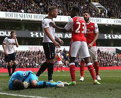 30 April 2017 London : Premier League Football : Tottenham Hotspur v Arsenal :<br /> Toby Alderweireld of Tottenham and Danny Welbeck of Arsenal clash.<br /> Photo: Mark Leech