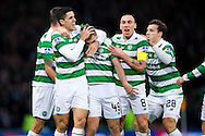 Celtic midfielder James Forrest (#49) celebrates Celtic's second goal (2-0) with Celtic midfielder Scott Brown (#8) and Celtic defender Erik Sviatchenko (#28) during the Scottish Cup final match between Aberdeen and Celtic at Hampden Park, Glasgow, United Kingdom on 27 November 2016. Photo by Craig Doyle.