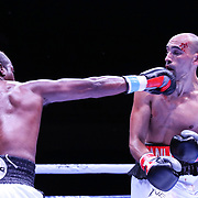 DAYTONA BEACH, FL - AUGUST 15:  Francisco Torrres gets punched by Cleotis Pendarvis during the Alberto Ignacio Palmetta v Tre'Sean Wiggins boxing match at the Ocean Center on August 15, 2020 in Daytona Beach, Florida. (Photo by Alex Menendez/Getty Images) *** Local Caption *** Cleotis Pendarvis; Francisco Torres